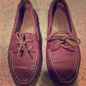 Sperry Topsider Red Leather Boat Shoes size 7.5